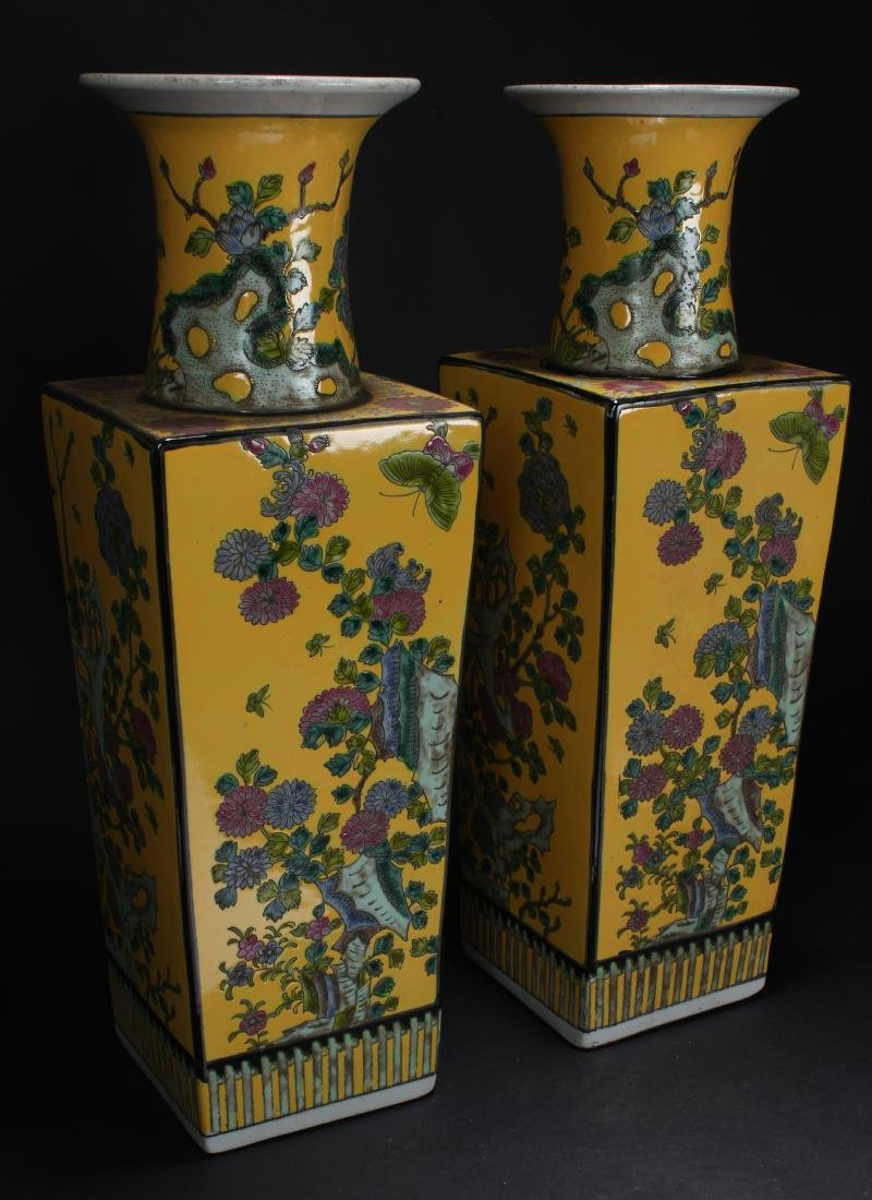 A Pair of Chinese Yellow Porcelain Vases