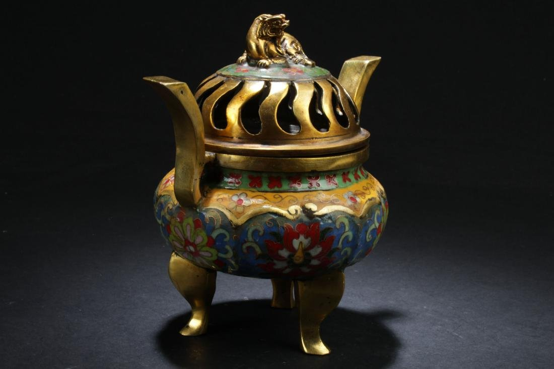 A Chinese Lidded Estate Tri-podded Cloisonne Censer