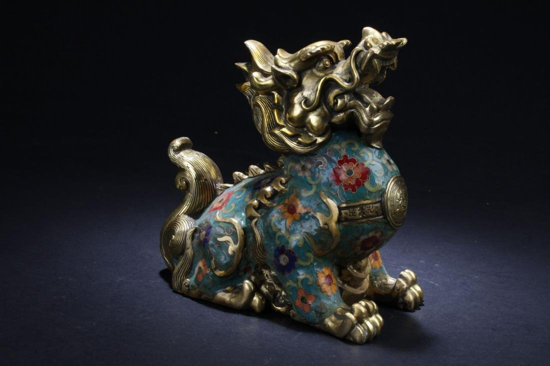 An Estate Chinese Cloisonne Myth-beast Statue Display