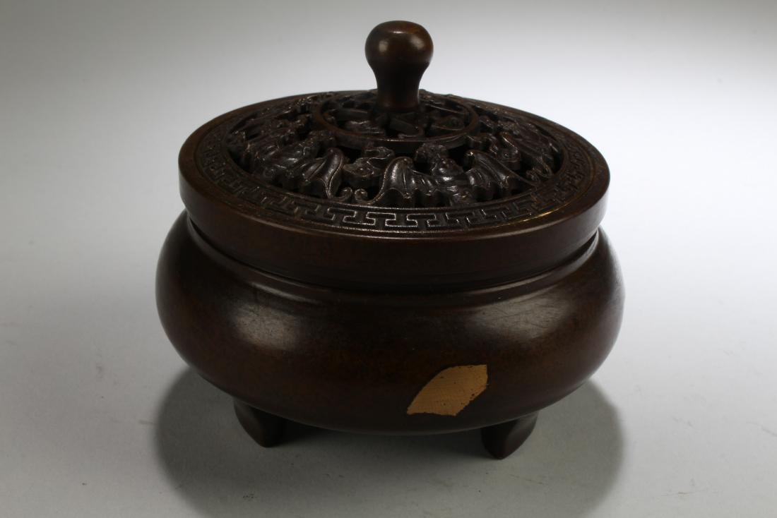 A Chinese Gilt Estate Fortune Lidded Display Censer