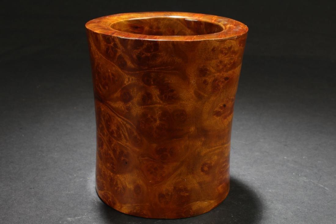 An Estate Wooden Circular Brush Pot Display