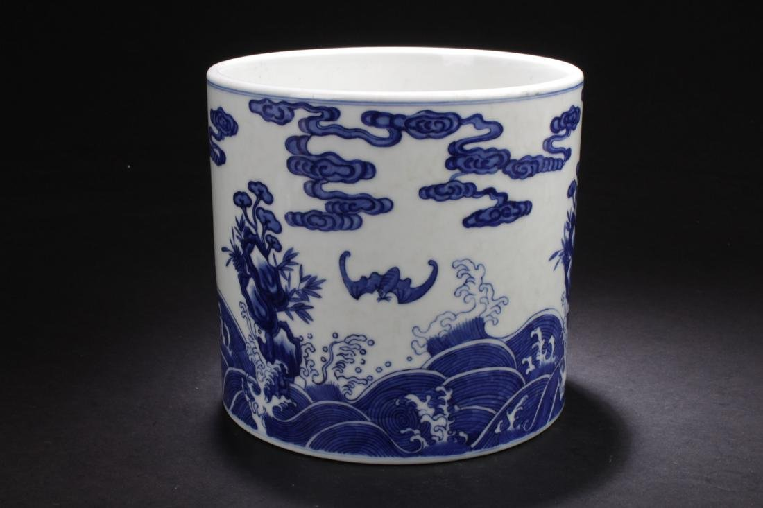A Chinese Bat-framing Aqua-fortune Blue and White