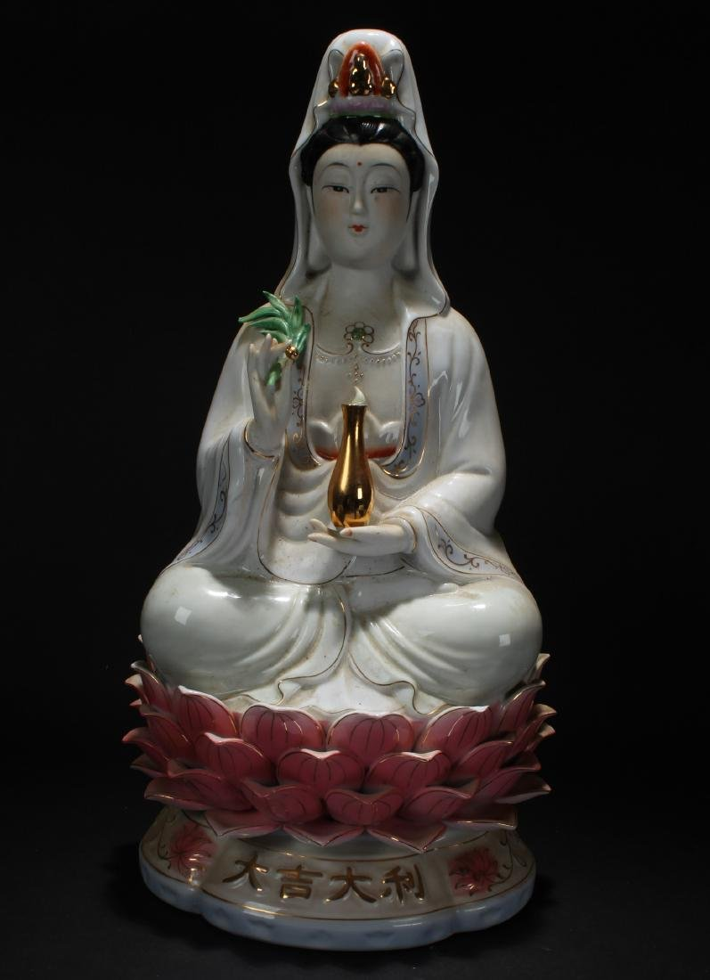 An Estate Chinese Porcelain Guanyin Statue
