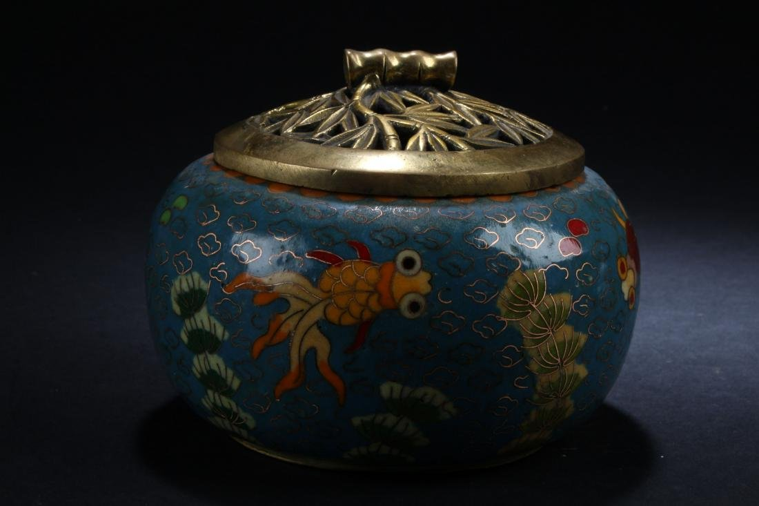 A Chinese Lidded Aqua-fortune Cloisonne Censer Display