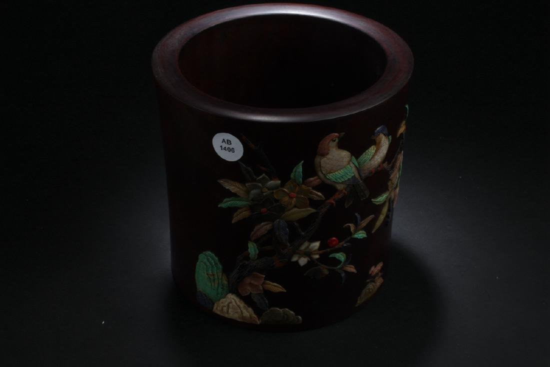 A Chinese Plating-decorated Estate Wooden Brush Pot