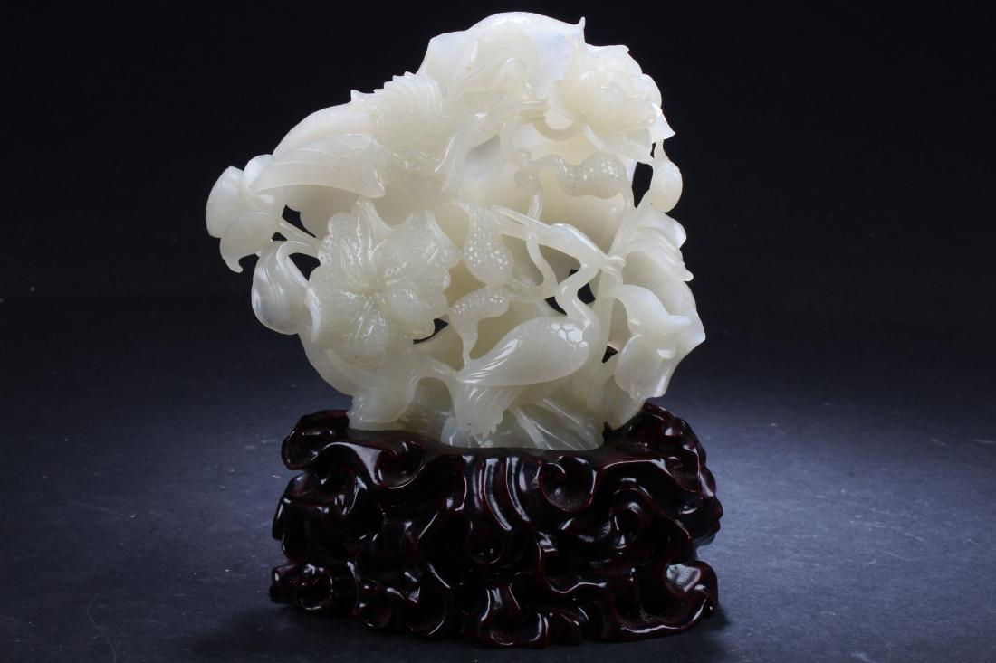 A Chinese Curving-through Technique Estate Jade Statue
