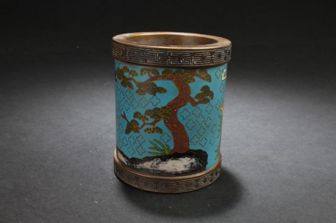 A Circular Chinese Cloisonne Nature-sceen Brush Pot