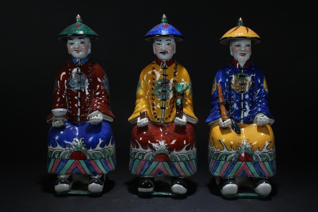 Three Chinese Estate Porcelain Governor Statues
