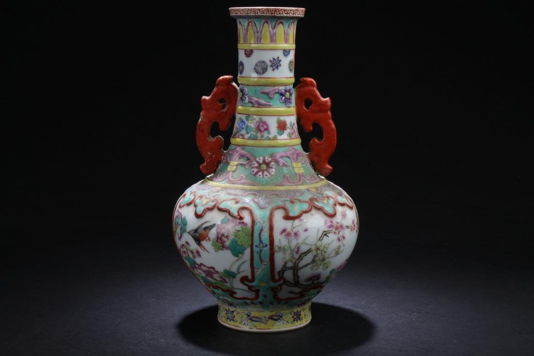 A Duo-handled Chinese Windowed Porcelain Vase Display