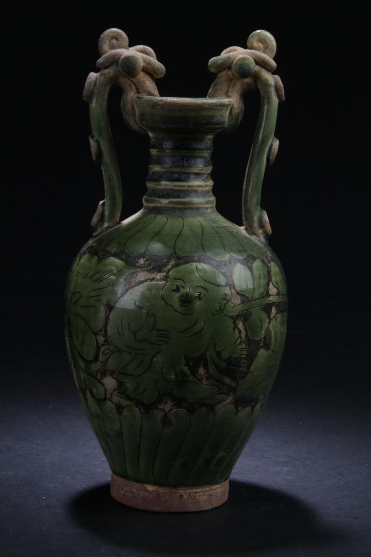 An Estate Pottery-made Chinese Duo-handled Vase Display