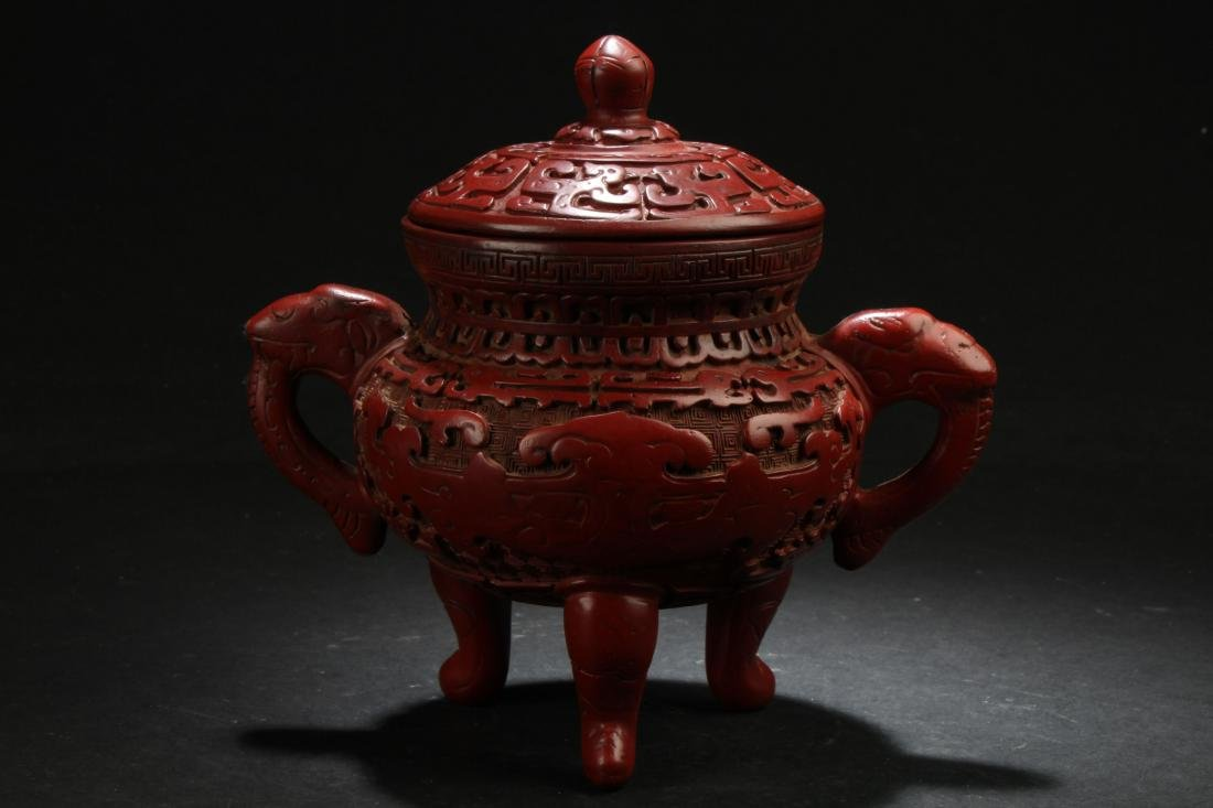 A Chinese Duo-handled Estate Lidded Lacquer Censer