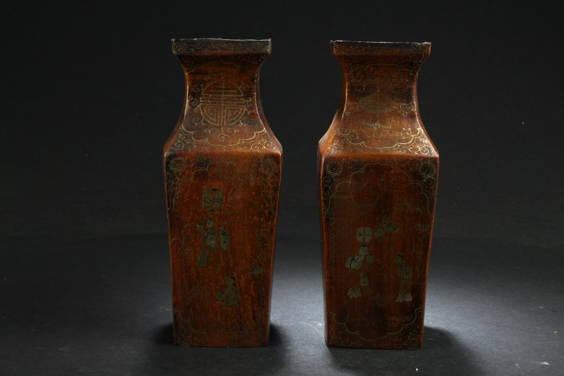 A Pair of  Chinese Square-based Lacquer Vase Display
