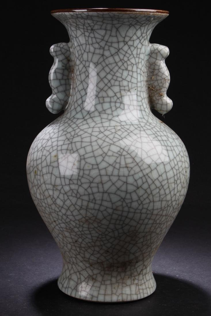 An Estate Chinese Crack-style Porcelain Vase Display