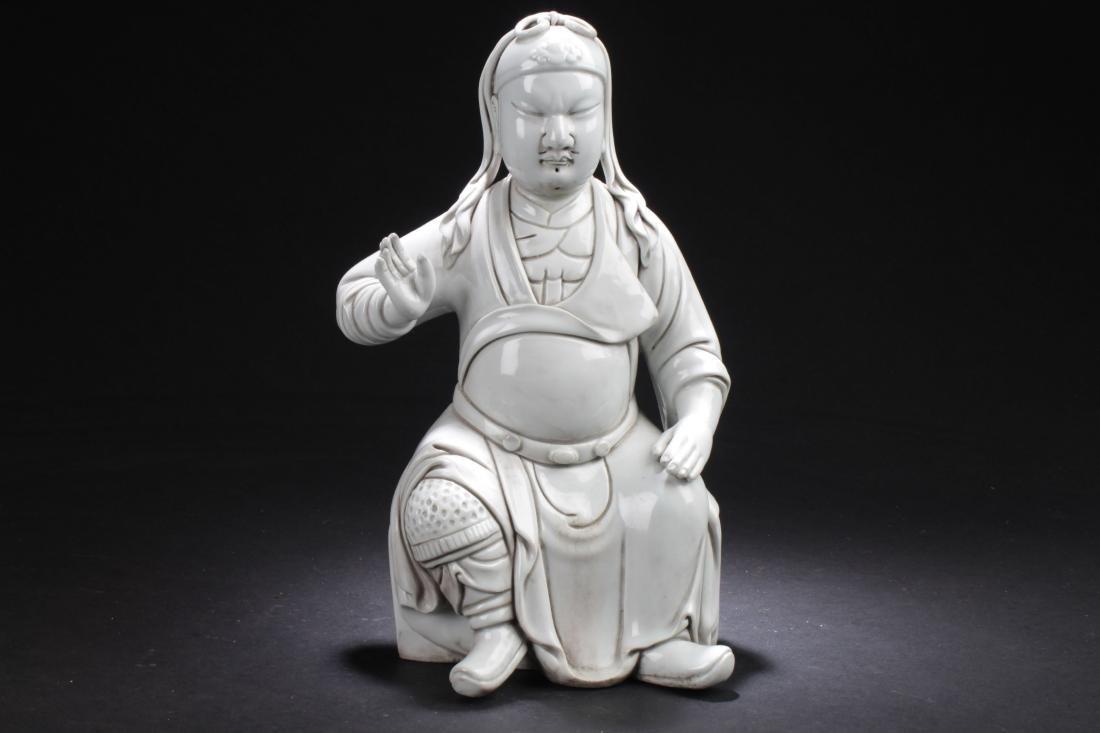 A Pondering-pose Chinese Estate White Porcelain Buddha