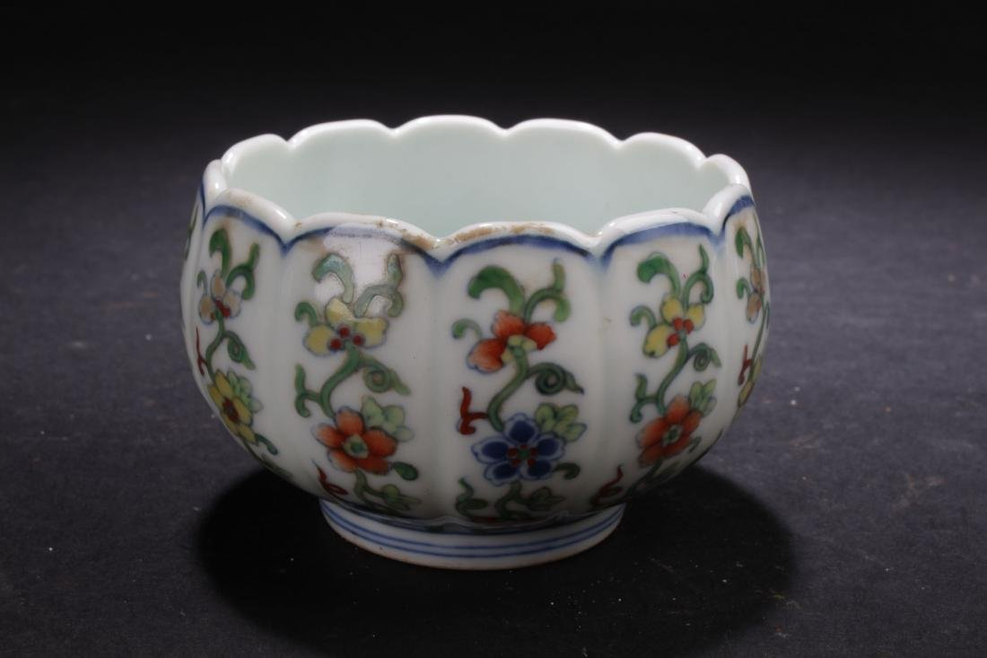 A Flower-edge Chinese Fortune Porcelain Cup Display