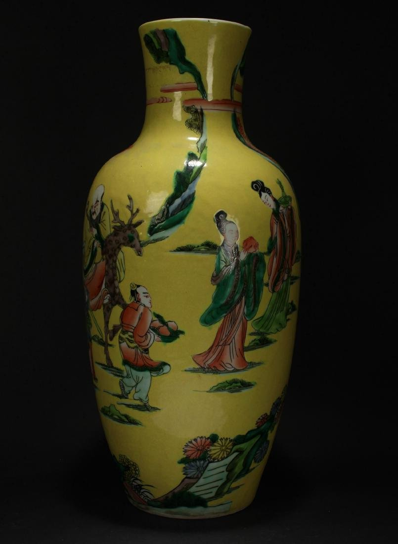 A Chinese Story-telling Yellow Porcelain Vase
