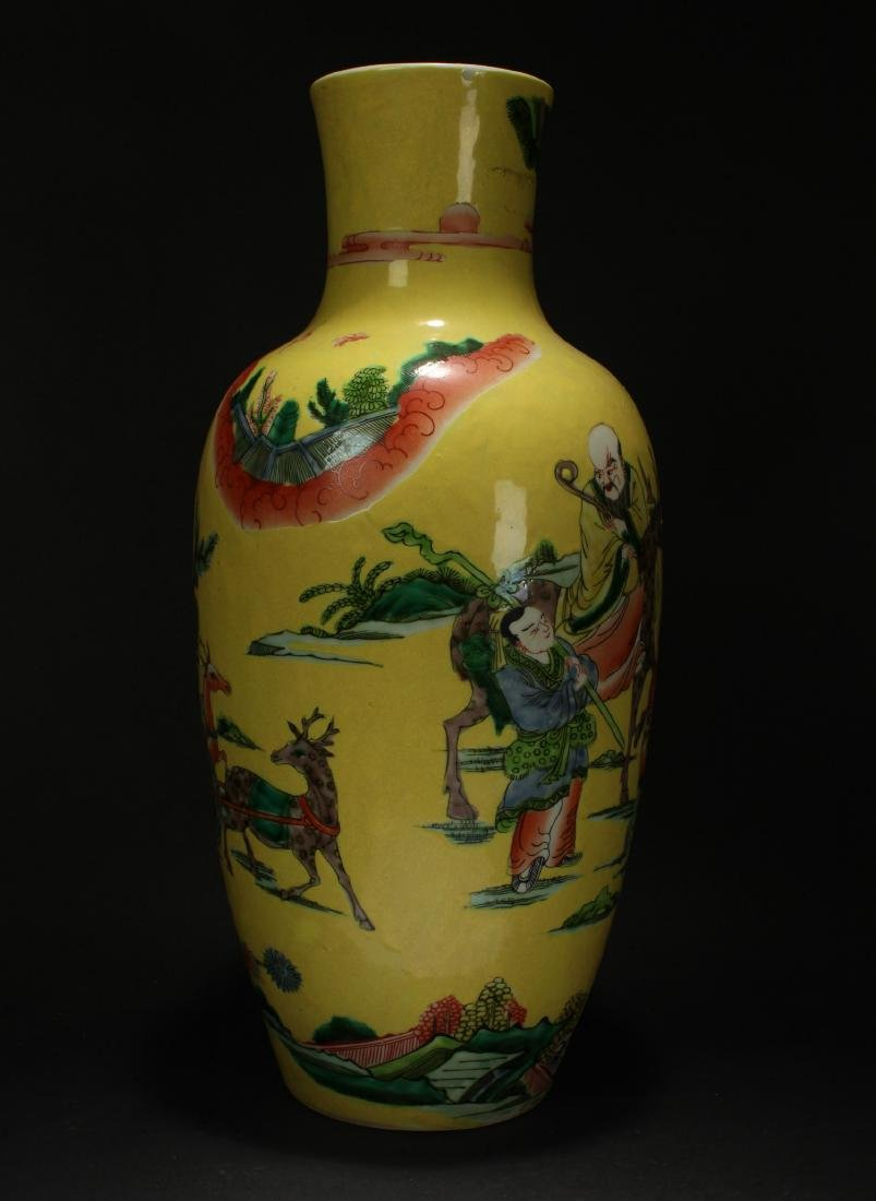 A Chinese Story-telling Yellow Porcelain Vase - 2