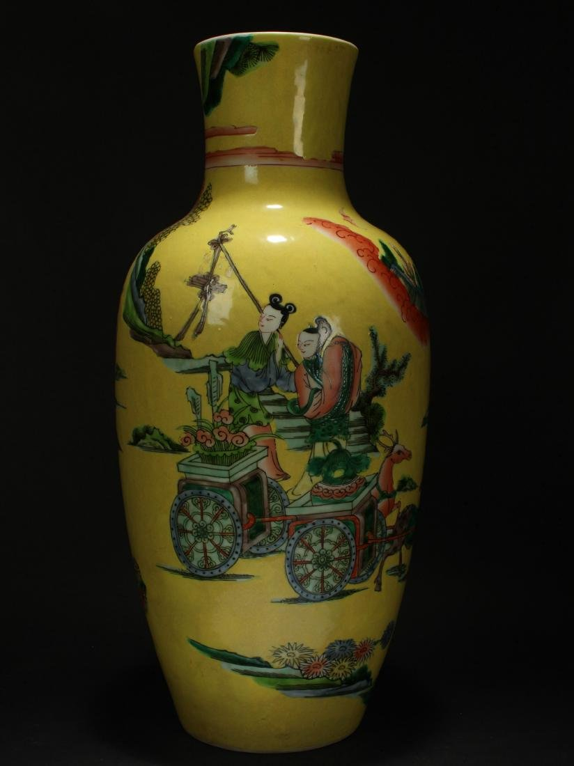 A Chinese Story-telling Yellow Porcelain Vase - 3
