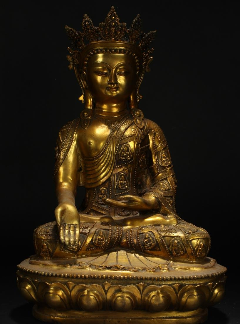An Estate Tibetan Gilt Pondering-pose Statue Display