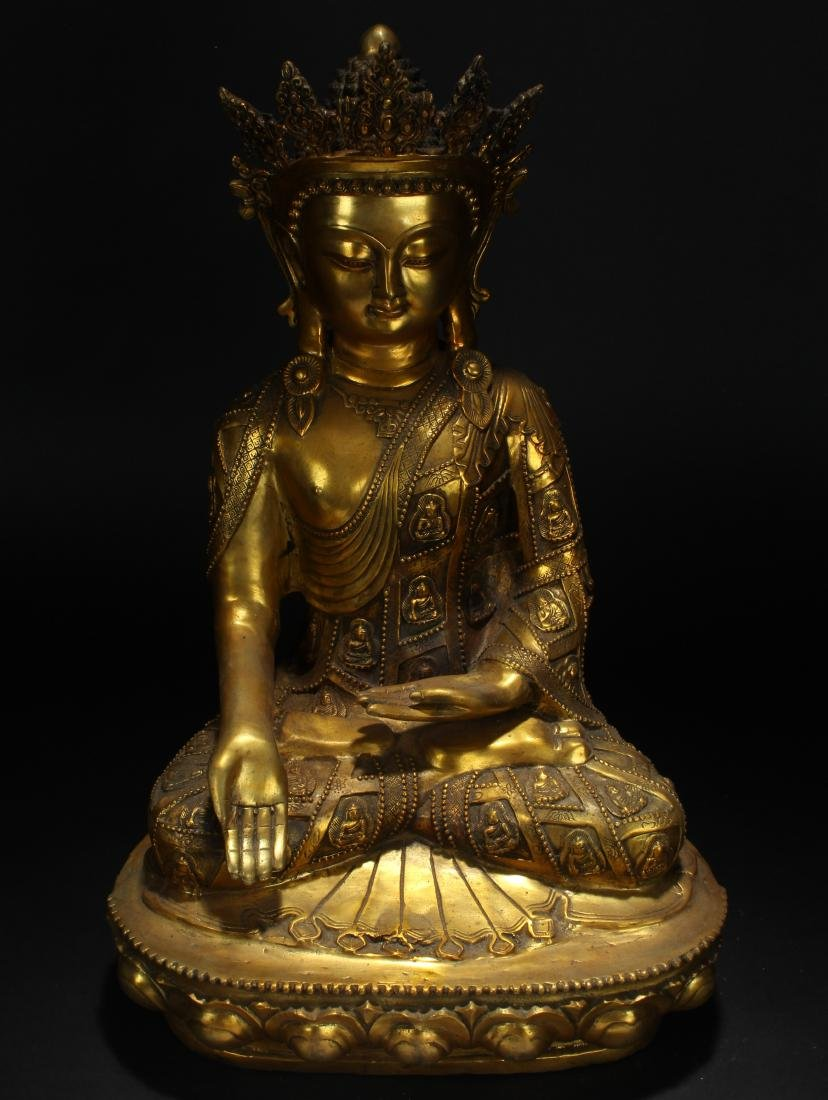 An Estate Tibetan Gilt Pondering-pose Statue Display - 2