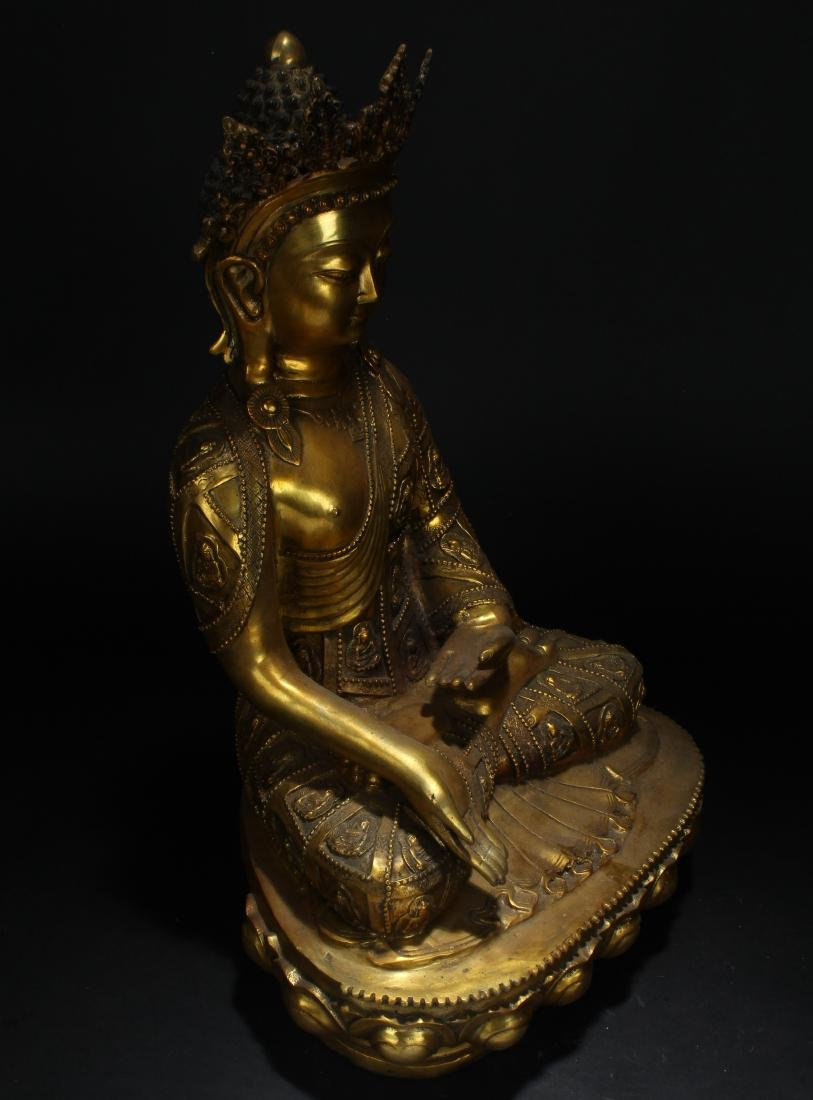 An Estate Tibetan Gilt Pondering-pose Statue Display - 3