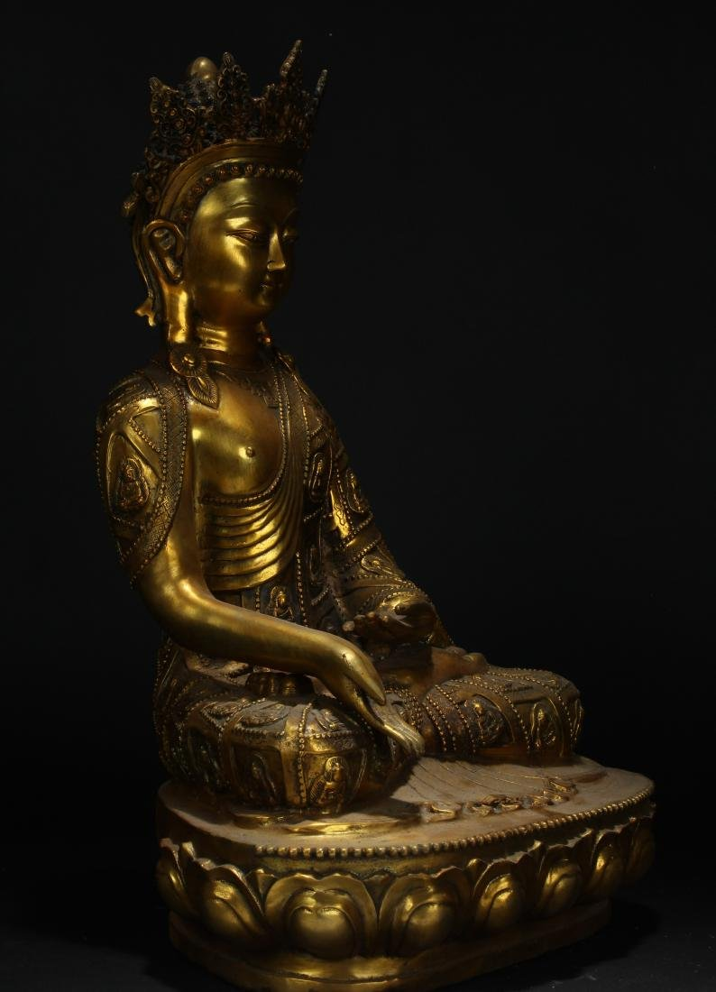 An Estate Tibetan Gilt Pondering-pose Statue Display - 4