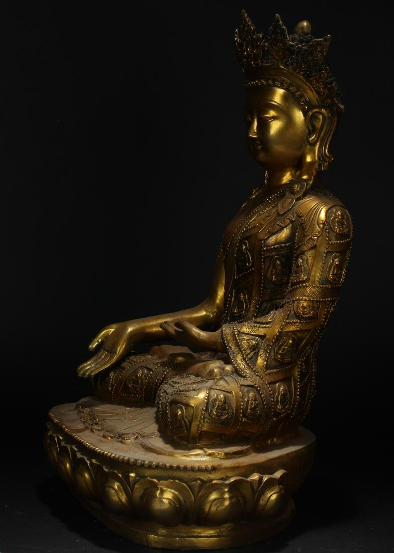 An Estate Tibetan Gilt Pondering-pose Statue Display - 5