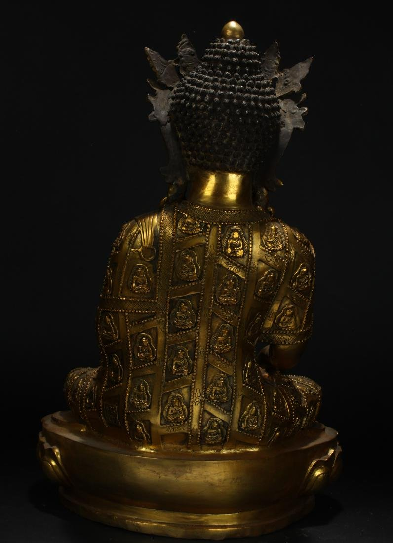 An Estate Tibetan Gilt Pondering-pose Statue Display - 6