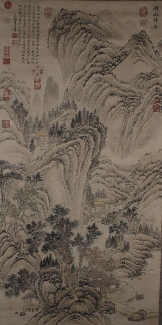 A Vivid-portrait Chinese Mountain-view Estate Scroll