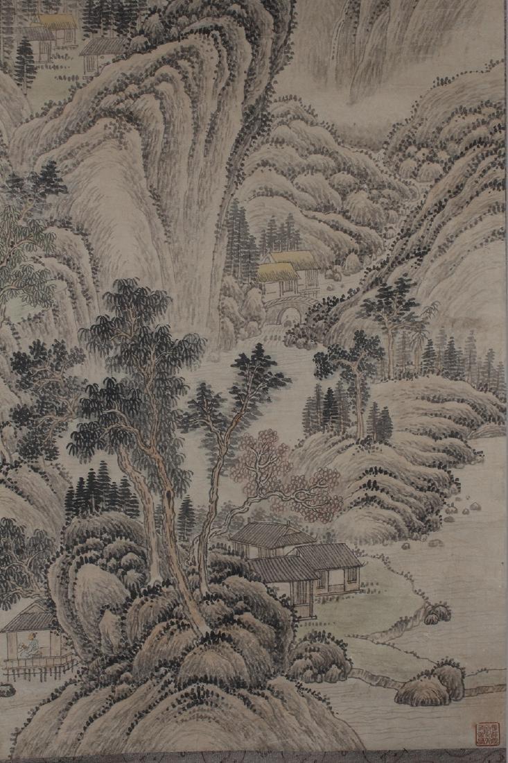 A Vivid-portrait Chinese Mountain-view Estate Scroll - 3