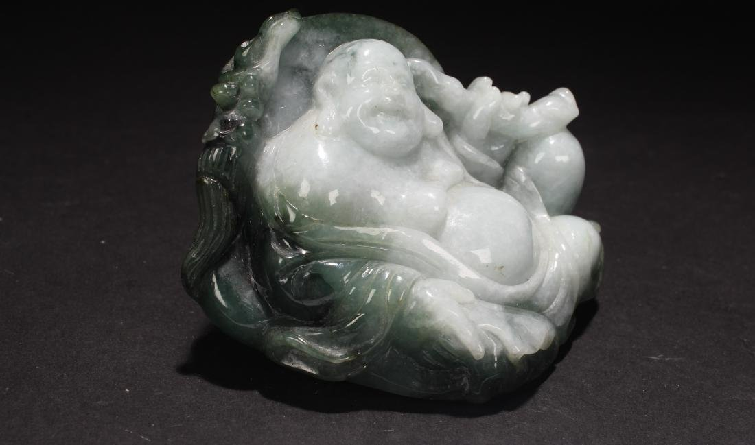 An Estate Chinese Jade-curving Happy Buddha Statue - 2