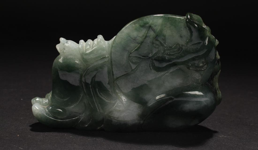An Estate Chinese Jade-curving Happy Buddha Statue - 3