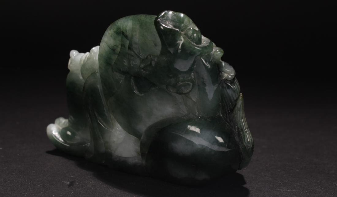 An Estate Chinese Jade-curving Happy Buddha Statue - 4