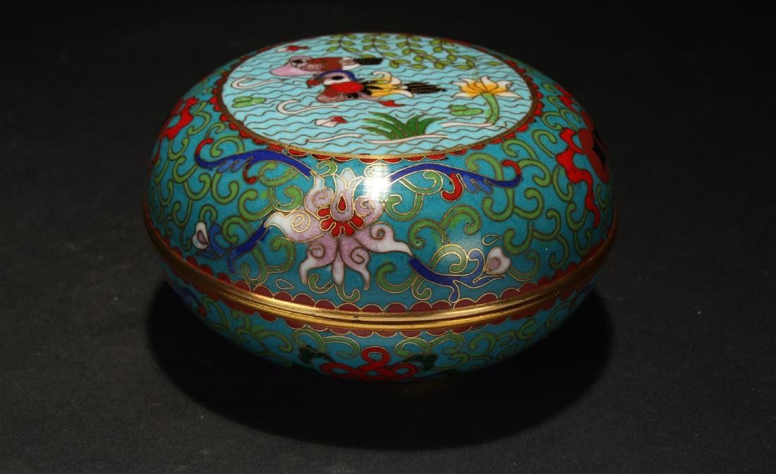 A Chinese Lidded Estate Cloisonne Box Display