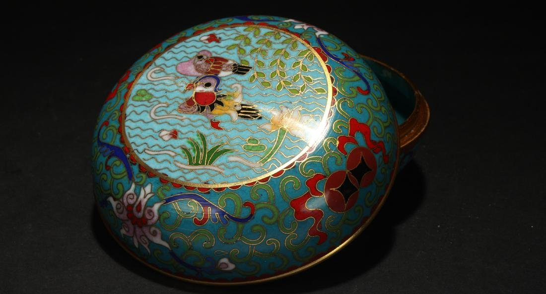 A Chinese Lidded Estate Cloisonne Box Display - 2