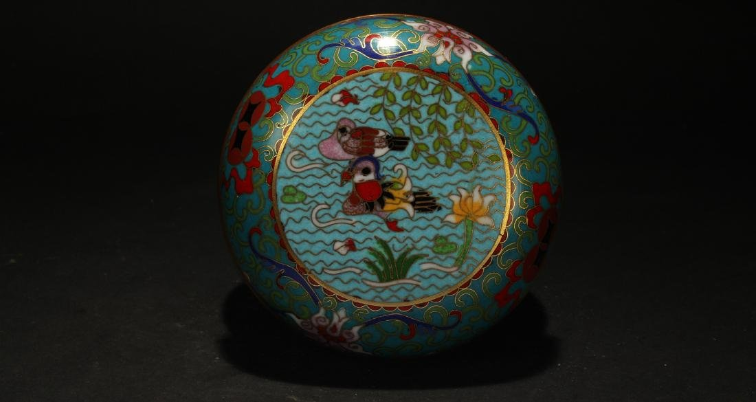 A Chinese Lidded Estate Cloisonne Box Display - 3