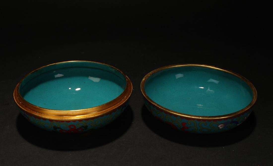 A Chinese Lidded Estate Cloisonne Box Display - 4