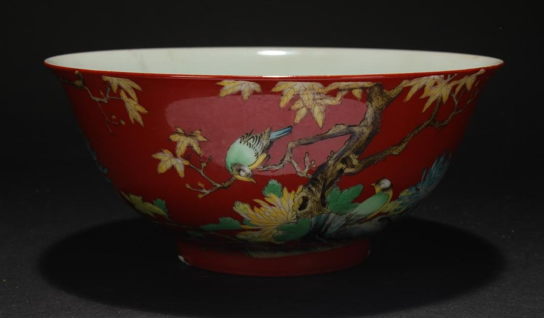 A Chinese Nature-sceen Red Porcelain Bowl