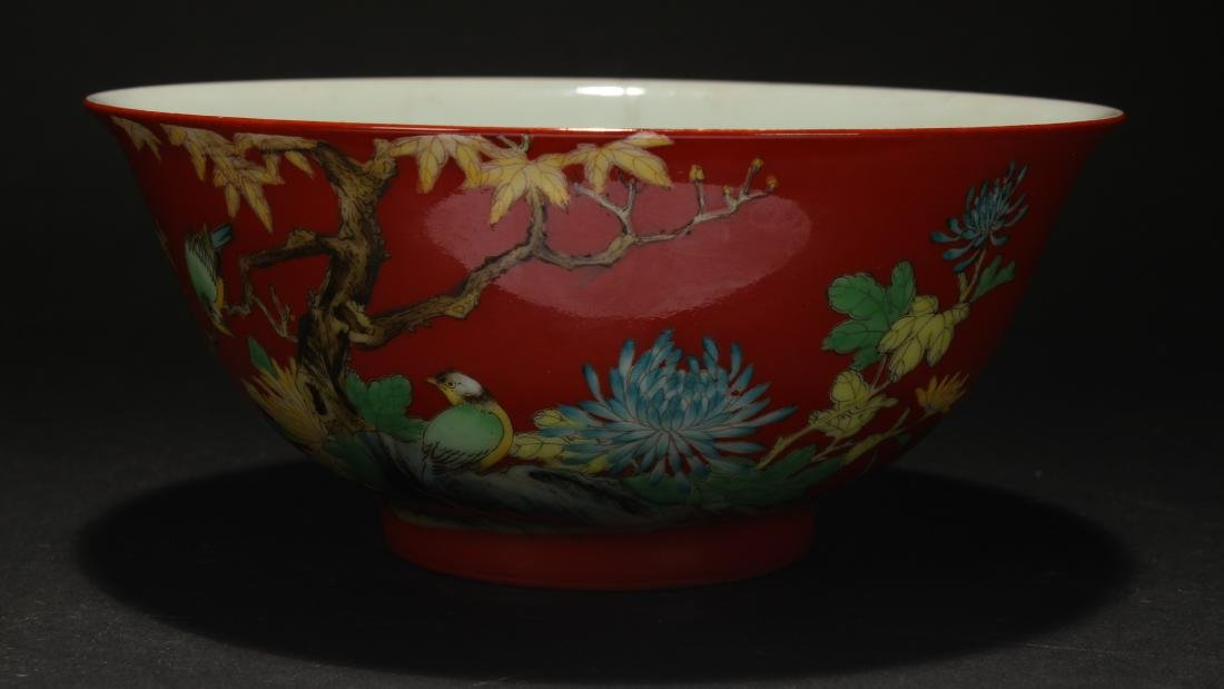 A Chinese Nature-sceen Red Porcelain Bowl - 2