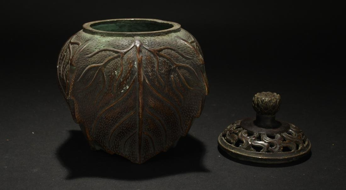 An Estate Chinese Lidded Censer Display - 3