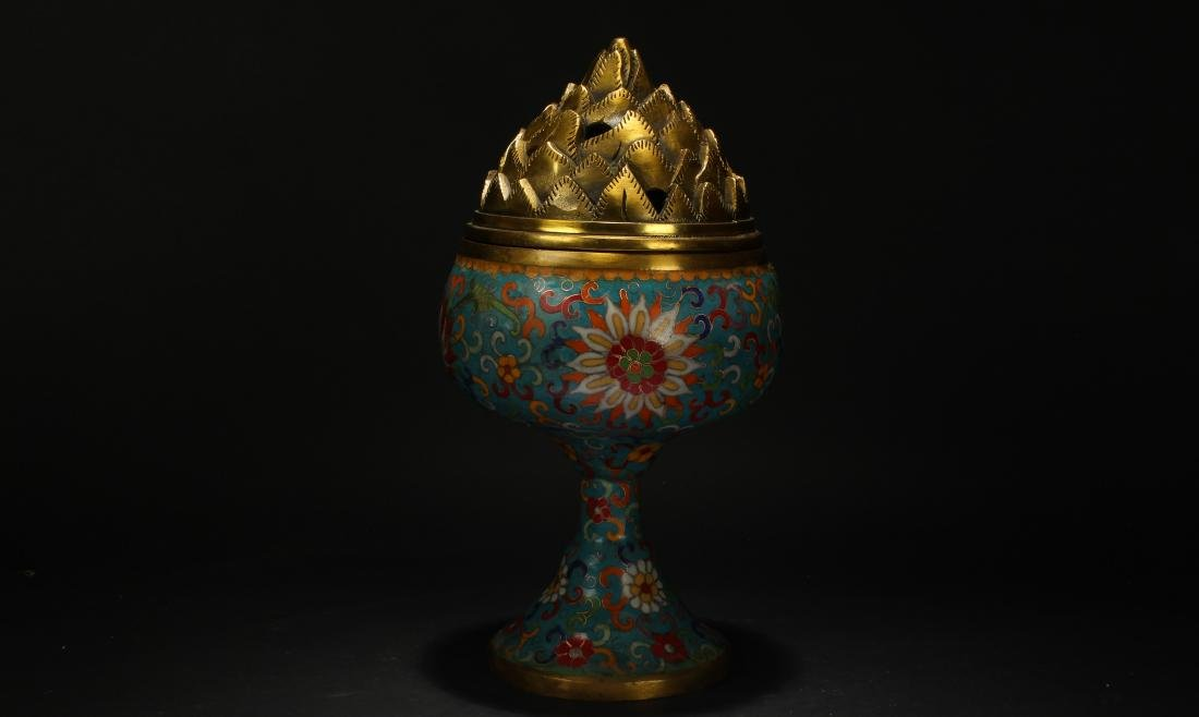 A Chinese Lidded Cloisonne Tall Censer Display