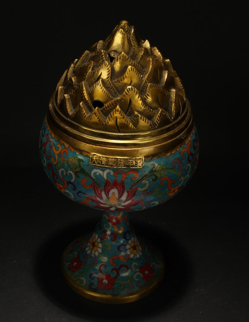 A Chinese Lidded Cloisonne Tall Censer Display - 3