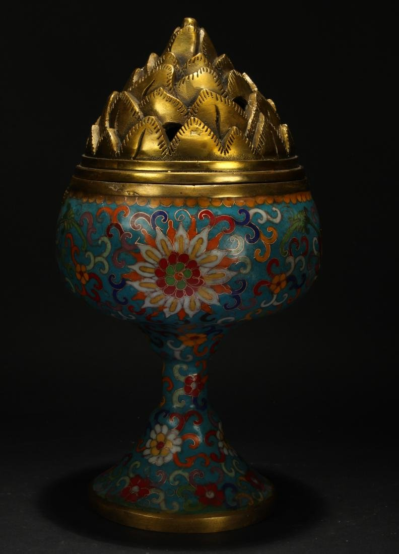 A Chinese Lidded Cloisonne Tall Censer Display - 4