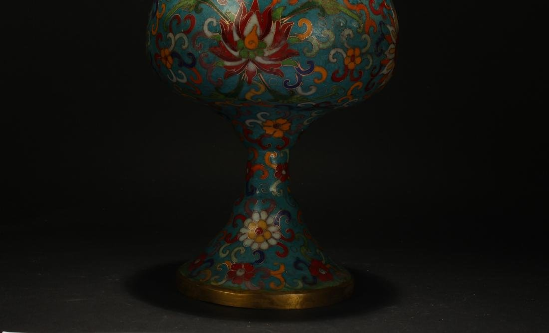A Chinese Lidded Cloisonne Tall Censer Display - 5