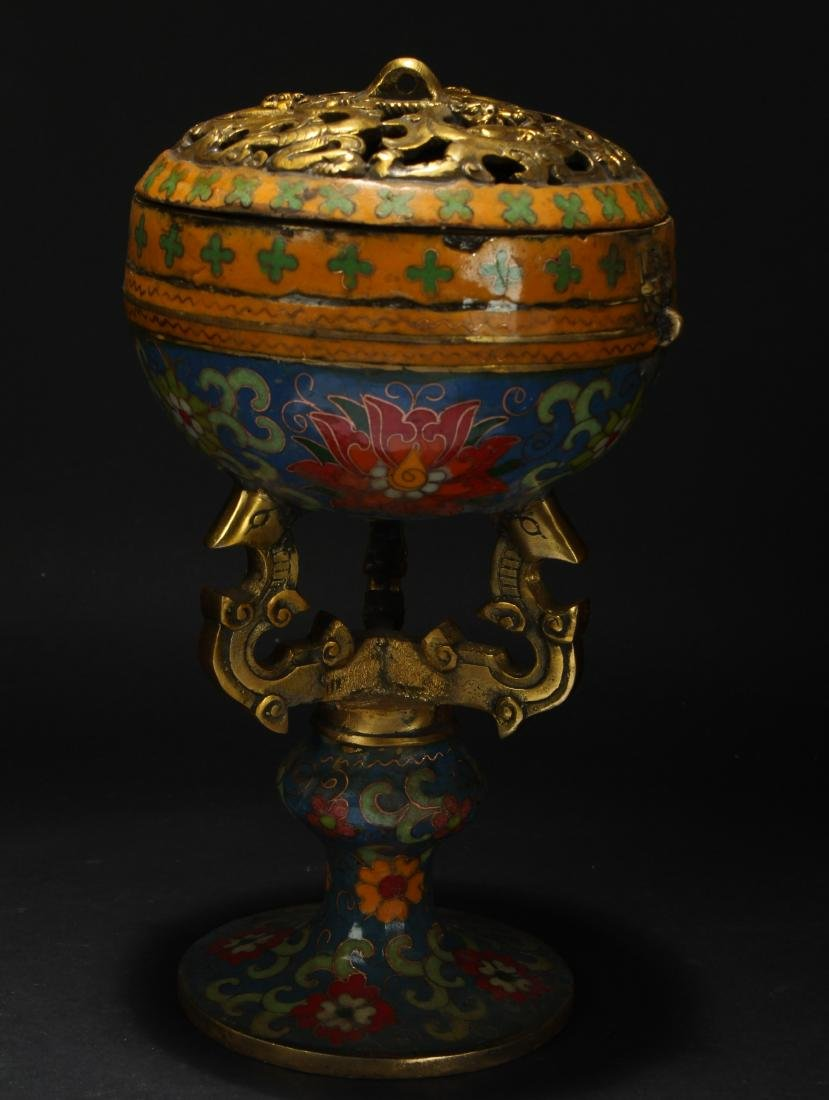 A Lidded Chinese Estate Cloisonne Display Censer