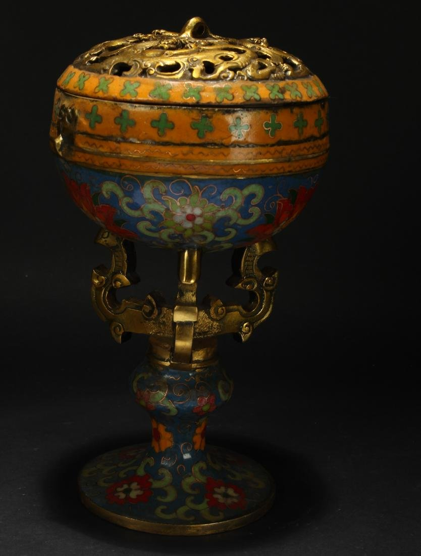 A Lidded Chinese Estate Cloisonne Display Censer - 2