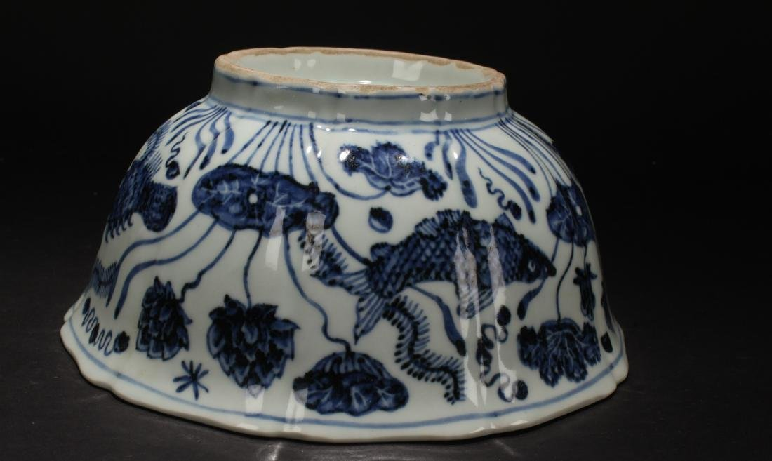 A Chinese Aquatic-forutne Blue and White Porcelain Bowl - 8
