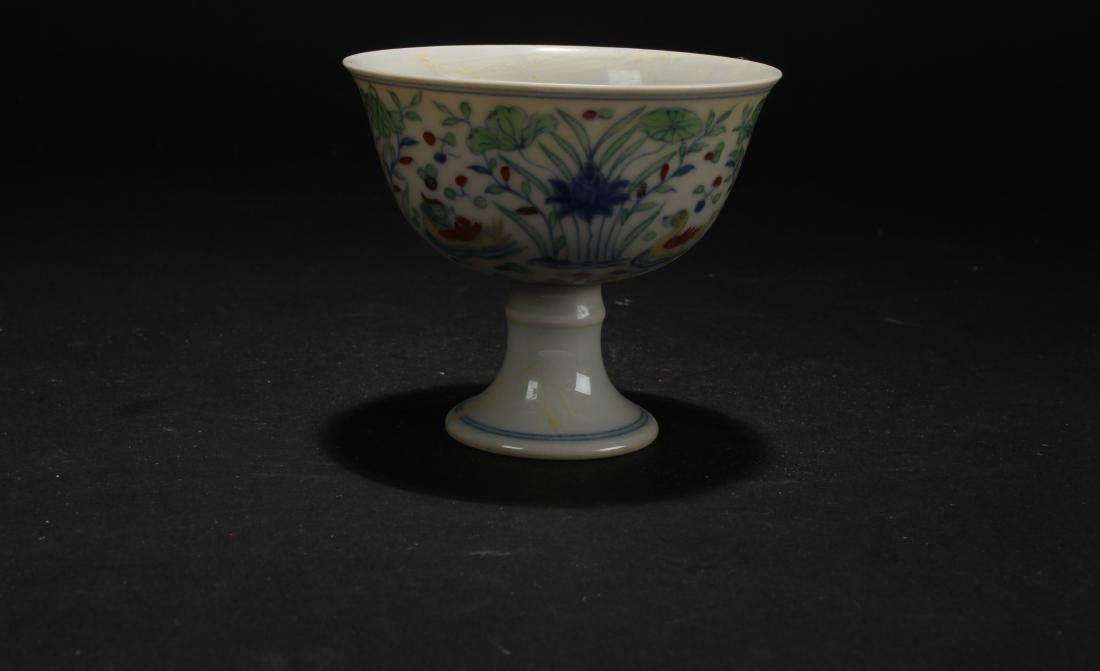 An Estate Chinese Aquatic-fortune Porcelain Cup Display