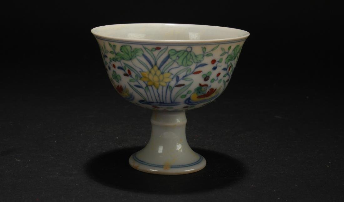 An Estate Chinese Aquatic-fortune Porcelain Cup Display - 2