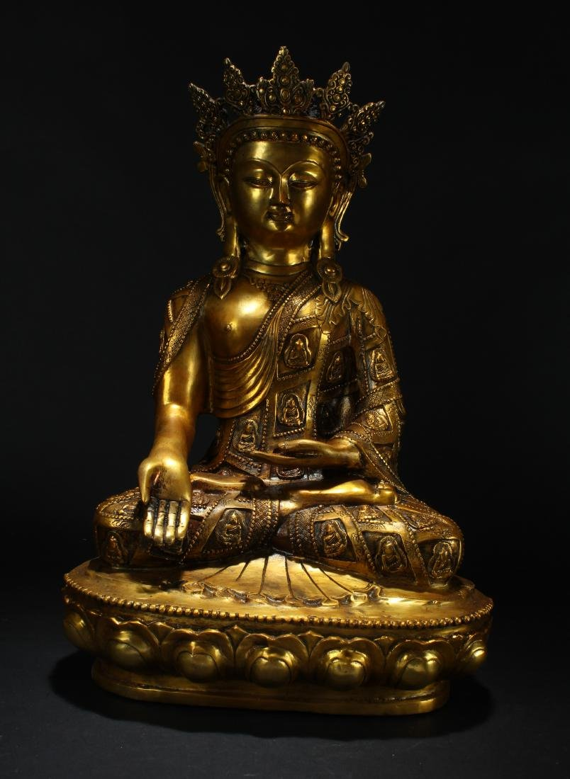 An Estate Chinese Gilt Loctus-seated Statue Display